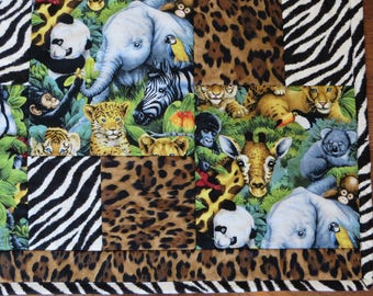 Animal Quilt Pattern PDF instant download digital tutorial, Baby Quilt Pattern AND Toddle Quilt instructions included, DIY baby Quilt Gift