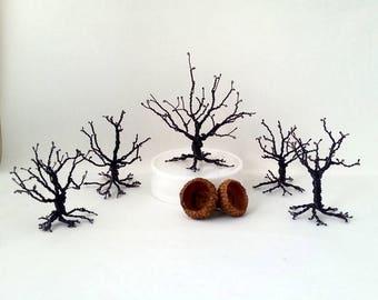 Miniature wire tree Landscape scene Handmade tree Fairy garden Terrarium Shelf garden Wrought iron tree