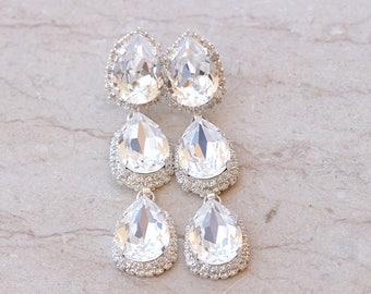CLEAR PROM EARRINGS, Clear Swarovski Earrings, High End Jewelry, Shoulder Dusters, Chandelier Earrings, Statement Earrings, Classy Earrings