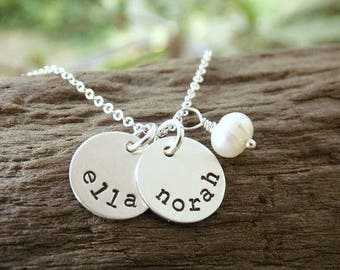 Mommy Necklace with Kids Names Stamped Sterling Silver Disc Two Three Four Five Six