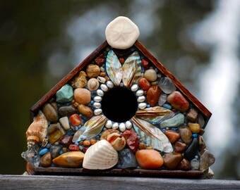 Tropical birdhouse,Mosaic Birdhouse,beach house,ocean decor,beach art,shell birdhouse,beach glass,bird home,tropical birdhouse,outdoor house