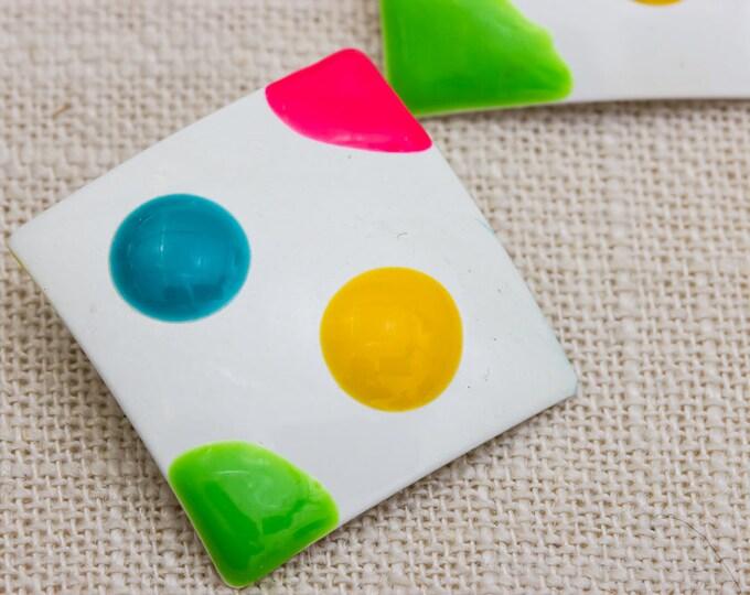 1990s Bright Enamel Earrings Square Neon Polka Dots | Colorful  Pierced Earings | Studs 7TU