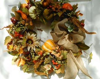 Fall Wreath , Wreath , Front Door Wreath , Autumn Wreath , Pumpkin Wreath , Wreath , Outdoor Wreath , Wreath For The Door , Pumpkin Patch