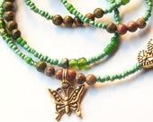 Womb Wellness Waist Beads, Fertility Unakite Waist Beads, Pink-Green Belly Beads, Butterfly Belly Chain, Blessed Ancestors Belly Beads