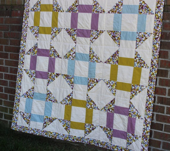 Blue Green Purple Floral Patchwork Quilt
