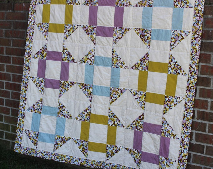 Blue Green Purple Patchwork Quilt