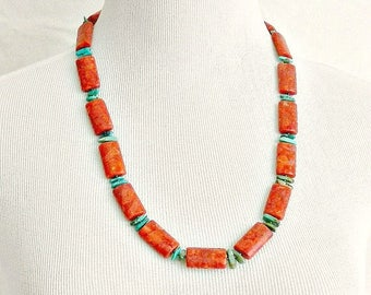 Vintage Red Coral & Turquoise Necklace, Handcrafted Coral and Turquoise Beaded Necklace.