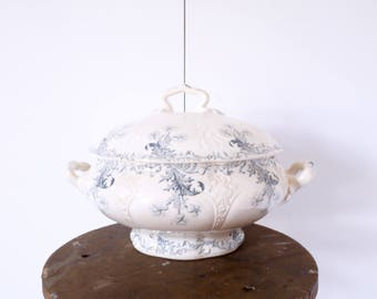 French Soup Tureen ironstone stonewear blue and white ironstone transferrer -Jeanne d'arc living