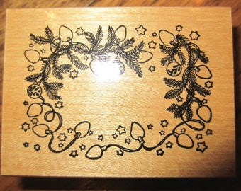 Psx F-390 Circle Of Garlin And Christmas Lights Holiday Wooden Rubber Stamp