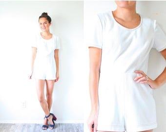 20% OFF JULY 4th SALE Vintage white mini romper // simple short romper // white textured romper dress // textured print mini dress // jumper