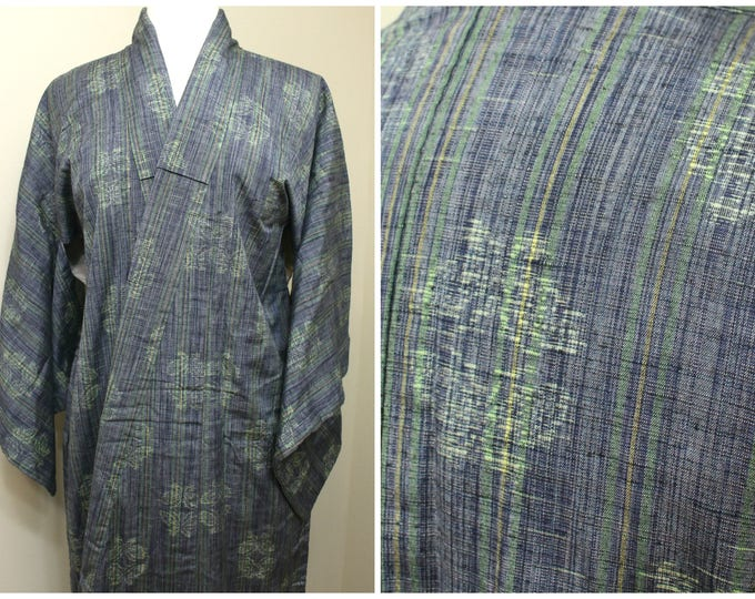 Japanese Vintage Kimono. Silk Ikat Robe. Blue Green Woven Stripes and Butterflies (Ref: 1786)