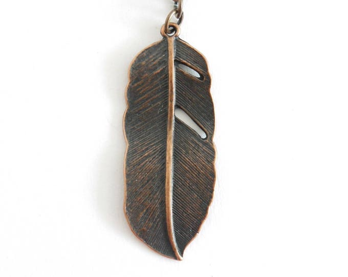 antique copper feather charm pendant, charm jewelry, collectible jewelry, memory jewelry, romantic, vintage, retro, victorian, boho, shabby