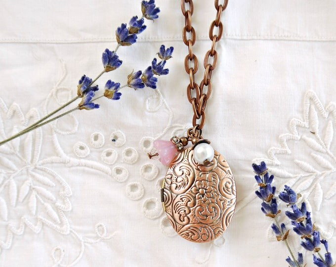 Oval antique copper photo locket necklace with pink and white charms, victorian style oval brass locket with two glass charms