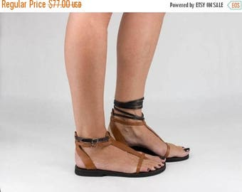 ON SALE T-strap Sandals, Gladiator Style Sandals, Lace Up or Buckled, Two in One Sandals, Barefoot Thong Sandals - Cali
