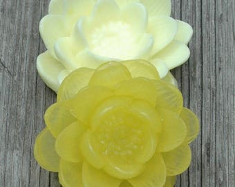 Lotus Flower Soap Set ~ Water Lily Soap ~ Yellow Flower Soap Set ~  Goat's Milk and Glycerin Flower Soap Set ~ Lotus Soap ~ Bridesmaid Gift