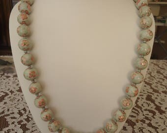 "Vintage Knotted Ceramic Painted Bead Necklace, Light Blue with Pink Flowers, 27"" Long, Slide Tab Clasp"