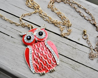 RED ENAMEL OWL Pendant Necklace Long Chain Large Owl Necklace