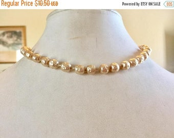 SUMMER SALE Shabby Chic Vintage Single Strand Bumpy Ivory Glass Pearl Necklace