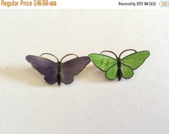 SUMMER SALE Lot of 2 Vintage and Salvaged Guilloche Enamel Butterfly Pins