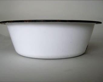 Enamelware Bowl, Small  Enamelware Basin,  Kitchen Enamel Bowl, White Enamelware Dishpan,  Wash Basin,