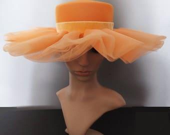 Vintage 1950s Hat | 50s Hat | 1950s Peach Hat | Wide Brim Hat | 50s Double Layer Brim Hat | 1950s Vintage Hat