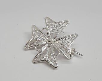 Maltese Cross Brooch 2.00 cm, Malta Cross Gift, Maltese Cross Jewelry, Malta Gift, Maltese Cross, Silver Filigree Brooch, Filigree Brooch,