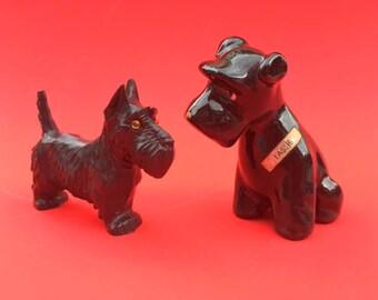 Vintage 40s 50s 60s lot of 2 Scottie Dog Ornaments including RARE Delee Art California 'Lassie'