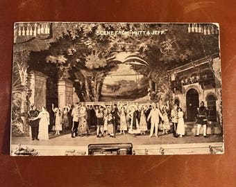 Vintage Black & White Scene from Mutt And Jeff Postcard 1912