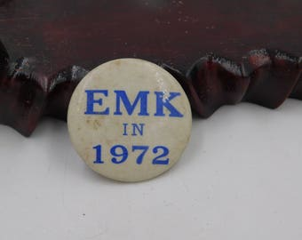 Vintage 1972 EMK Ted Kennedy For Senate Pin Pinback Button  DR2