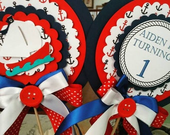Personalize Nautical Birthday Centerpieces set of 2- Nautical Party- Birthday- Baby Shower- Custom Colors Available