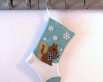 CHRISTMAS IN JULY Squirrel Personalized Christmas Stocking by Allenbrite Studio