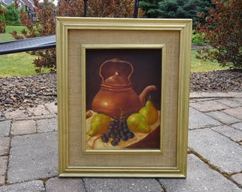 Mid Century 1940's Signed Still Life Oil Painting on board -- Awesome Gold Beveled Frame