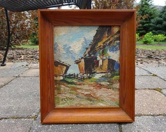 Mid Century Impasto Expressionism Abstract Landscape Oil Painting by listed artist Rolf Schey