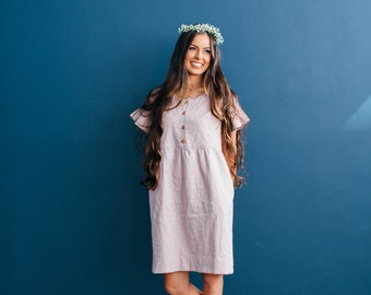 The Mommy Loa Dress, Pocket dress, Flutter sleeve dress, Linen dress