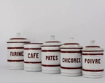 Antique Enamel Nesting Canisters Red and White  Signed and numbered.  Farmhouse Decor