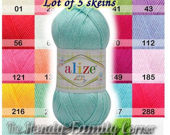 Alize Diva Baby yarn, Lot of 5 skeins. Hypoallergenic. Microfiber. Light, silky, spring summer yarn, fingering. Colour choice. Wholesale DSH