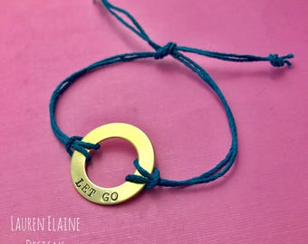 Custom Hand Stamped Brass Washer Hemp Bracelet- Choose Color and Font