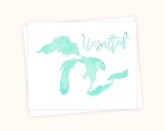 Great Lakes Unsalted (Mint) Card, Great Lakes Greeting Card, Great Lakes Watercolor, Great Lakes Cards, Michigan Cards, Michigan Notecards