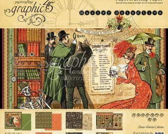 """Shipping - Graphic 45 """"Master Detective"""" 12x12 Paper Pad"""