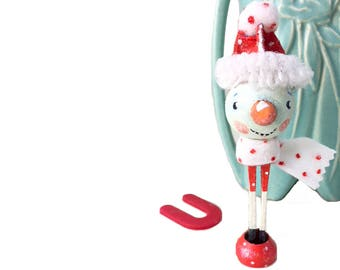 Handpainted Wood Clothespin Snowman Christmas Holiday Decor