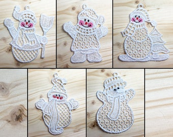 Cuddly Snowmen Pack 2 Machine Embroidered Lace Ornaments