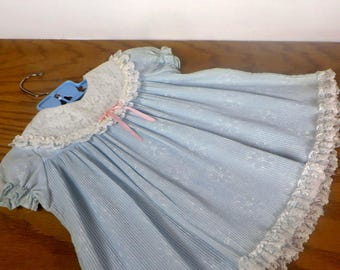 Vintage Girls Blue Dress with Lace Childs Pleated Light Blue Dress Lace Collar 1950s 1960s Girls Party Dress