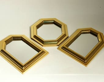 Small framed mirror etsy for Small gold framed mirrors