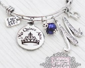 Quinceanera GIFT, 15th Birthday Gift, Letter Bangle Bracelet, Personalized Jewelry- Mis Quince Anos, Jewelry- Crown, You are loved-Number 15