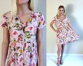 vtg 90s pale pink FLORAL Print keyhole MINI babydoll DRESS Small/Medium grunge boho hippie festival India pastel