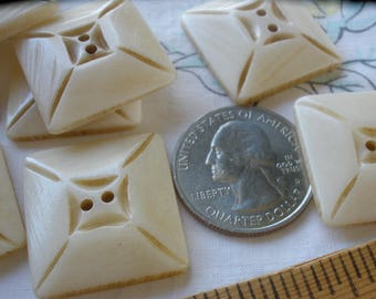 """Hand carved Square Bone Buttons 32MM geometric 50L 1.25"""" knit crochet embellish 2-hole sew on tribal vintage each is OOAK Bovine"""