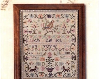 With Thy Needle & Thread: Pink Sparrow Sampler - Cross Stitch Pattern