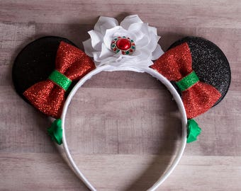 Red and Green Christmas Minnie Mouse Inspired Headband!