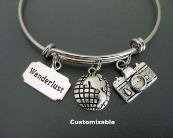 Wanderlust Bracelet / Wanderlust Bangle / Camera Bracelet / Travel Bracelet / Expandable Charm Bracelet / Adjustable Charm Bracelet