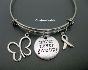 Thyroid Cancer Bracelet / Thyroid Cancer / Never Never Give Up Bracelet / Adjustable Charm Bracelet  / Butterfly / Cancer Awareness Bangle